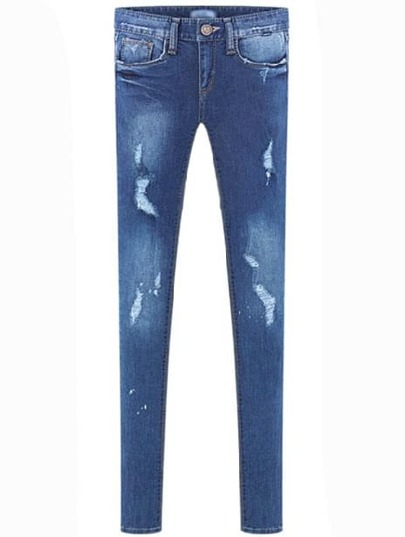 Blue Pockets Ripped Bleached Slim Denim Pant