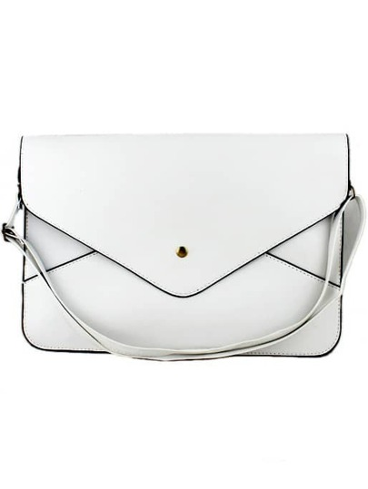 White Zipper Envelope Clutch Bag