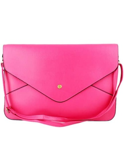 Rose Red Zipper Envelope Clutch Bag