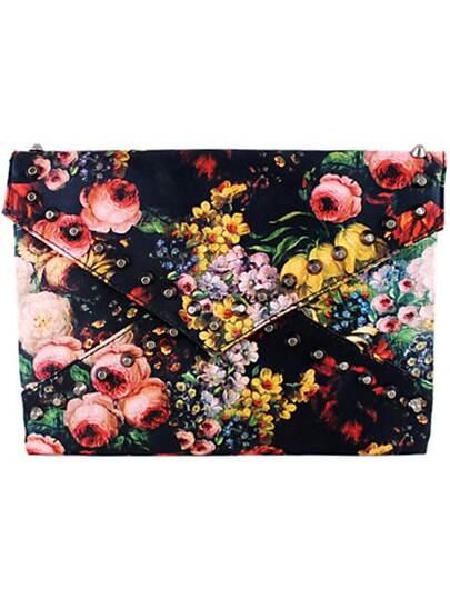Cltuch mit Blumenmuster und Niet, schwarz