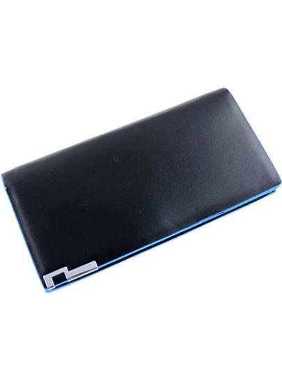 Black Contrast Blue Trims PU Clutch Bag
