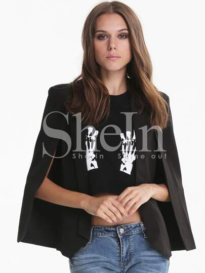 Black Lapel Split Long Sleeve Pockets Blazer
