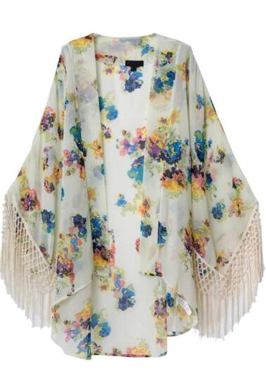 Kimono suelto floral  flecos-crudo