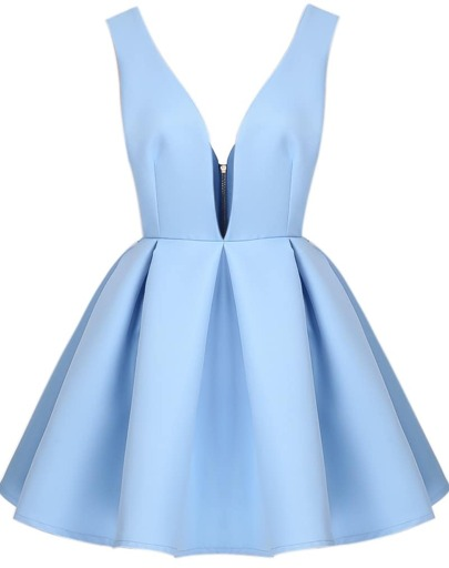 Blue Shantung V Neck Backless Midriff Flare Dress