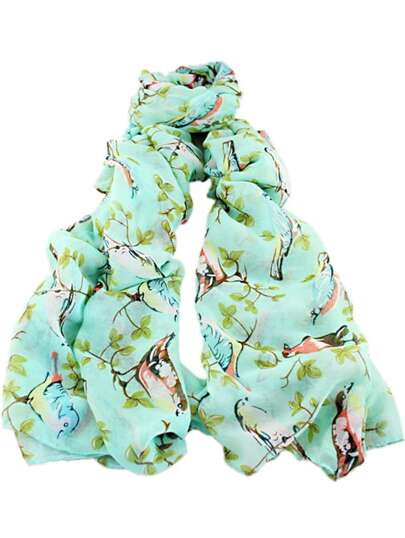 Green Bird Leaves Print Scarves