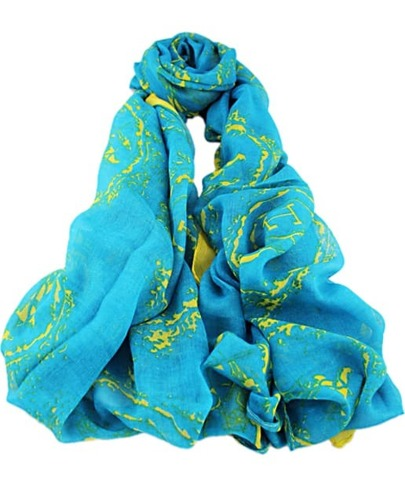 Blue Fashion Floral Scarves