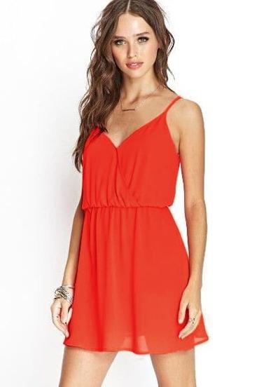 Orange Spaghetti Strap Slim Backless Dress