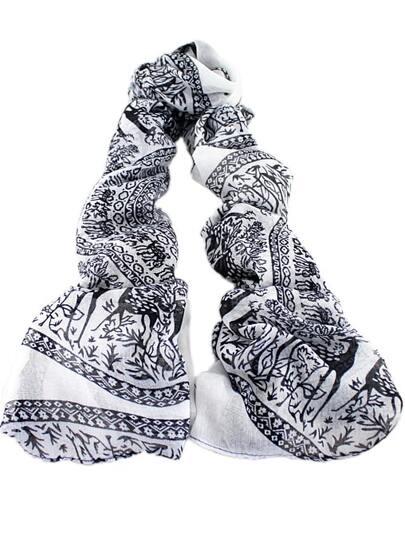 Black White Vintage Deer Print Scarves