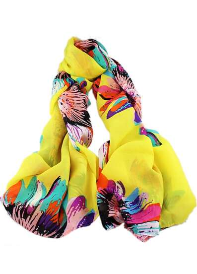 Yellow Sunflower Print Scarves