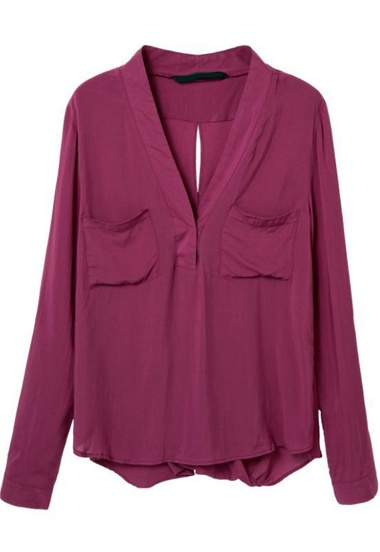 Wine Red V Neck Long Sleeve Pockets Blouse