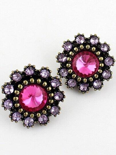 Purple Gemstone Retro Gold Bead Stud Earrings