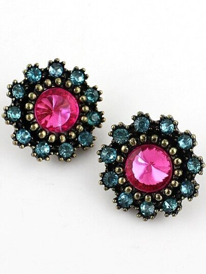 Blue Gemstone Retro Gold Bead Stud Earrings