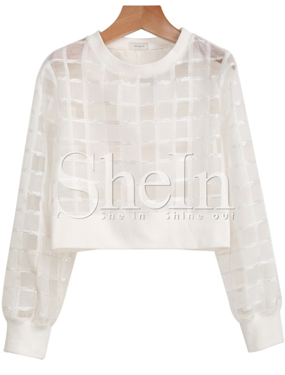 White Long Sleeve Sheer Checker Plaid Crop Blouse