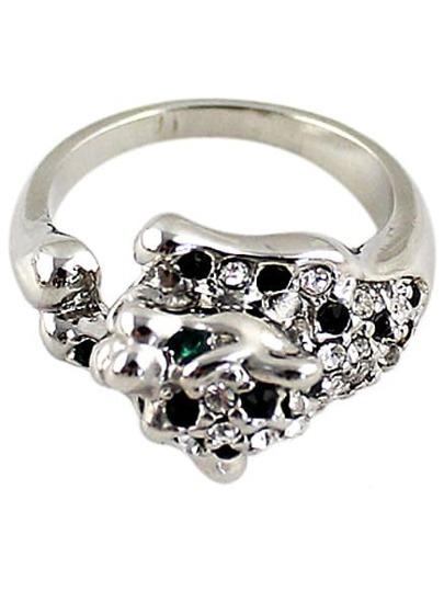Black White Diamond Silver Ring