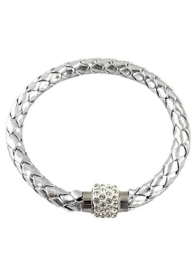 Silver Weave Diamond Bracelet