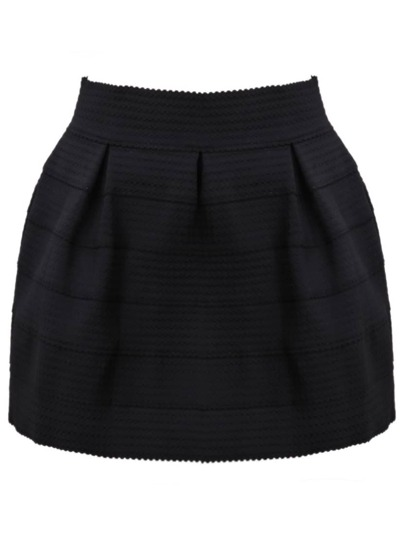 Black Zipper Striped Skirt