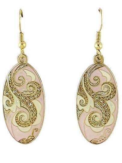Pink Glaze Gold Vintage Dangle Earrings