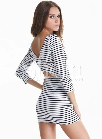 White Black Long Sleeve Striped Cut Out Back Dress