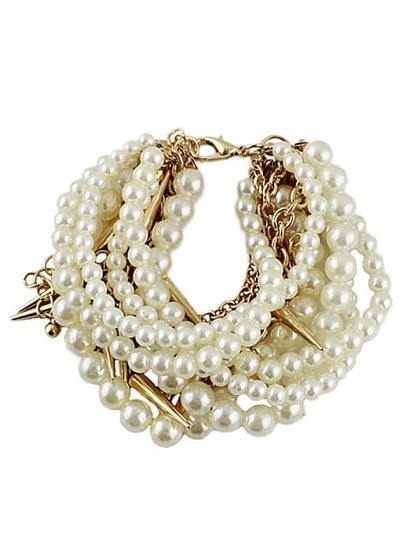 Gold Pearl Rivet Multilayers Bracelet