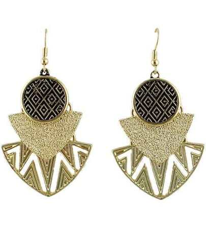 Gold Hollow Geometric Dangle Earrings