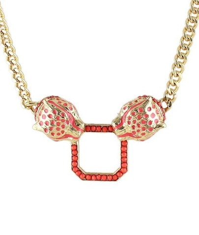 Red Glaze Gold Leopard Chain Necklace