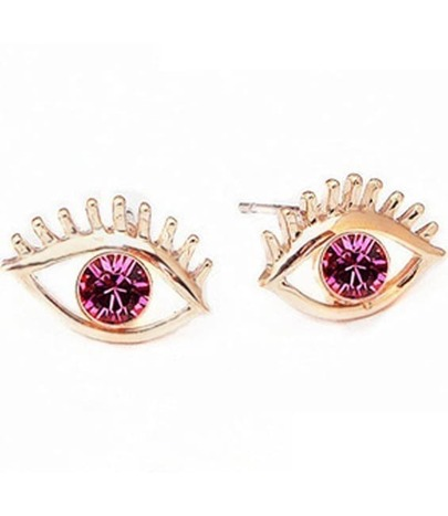 Red Gemstone Gold Eye Earrings