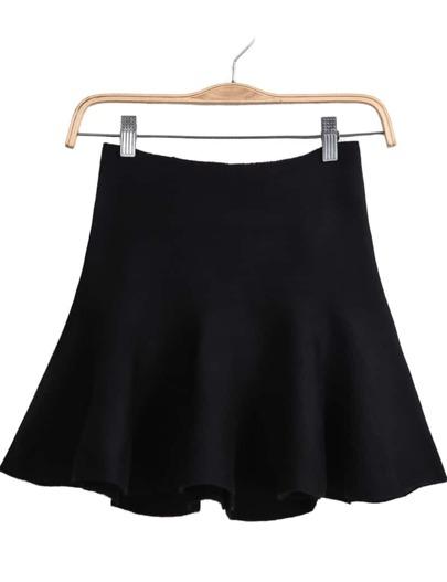 Black Zipper Knit Ruffle Skirt