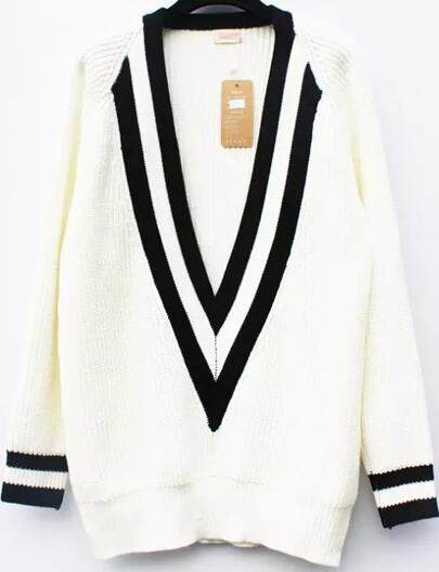 White V Neck Long Sleeve Striped Knit Sweater
