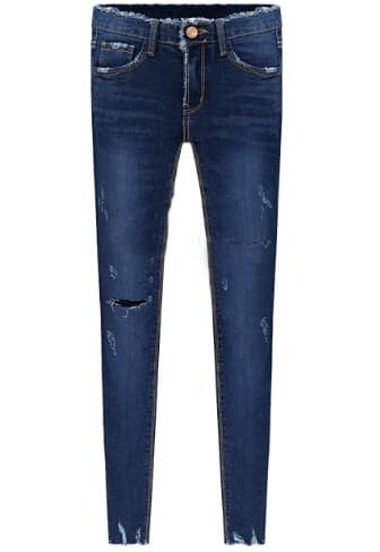 Blue Pockets Ripped Elastic Denim Pant