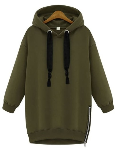 Green Hooded Long Sleeve Zipper Loose Sweatshirt