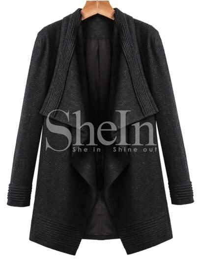 Black Long Sleeve Lapel Woolen Coat