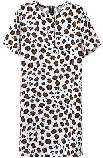 Vestido leopardo manga corta-blanco
