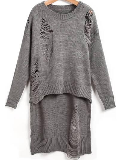 Grey Long Sleeve Hollow Dipped Hem Knit Sweater