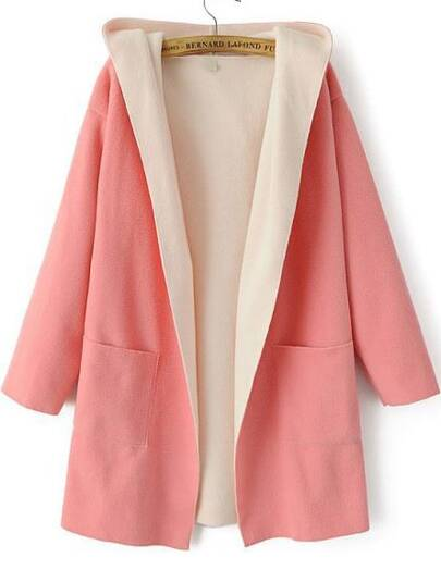 Pink Hooded Long Sleeve Pockets Woolen Coat