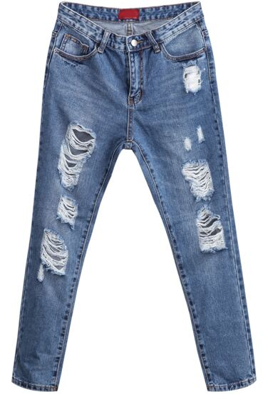 Blue Vintage Ripped Denim Pant