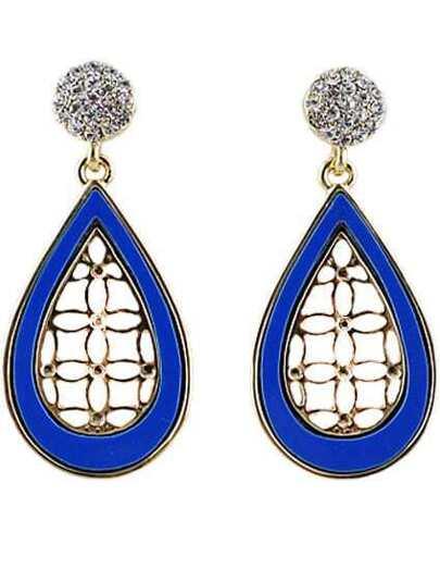 Blue Gold Hollow Drop Earrings