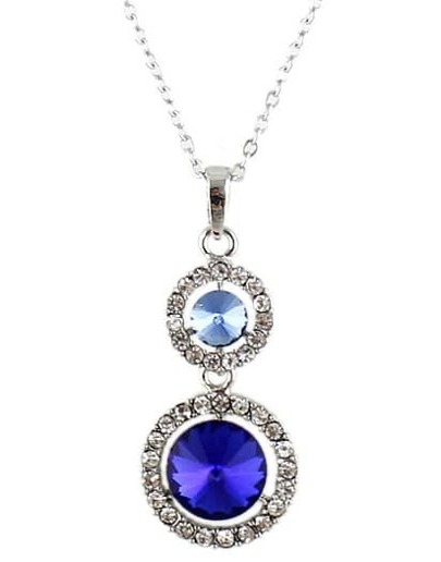 Blue Gemstone Silver Diamond Chain Necklace