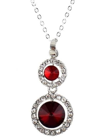 Red Gemstone Silver Diamond Chain Necklace