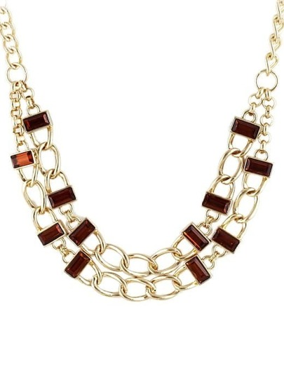 Red Gemstone Gold Hollow Chain Necklace