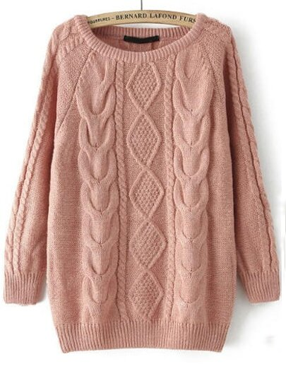 Pink Long Sleeve Cable Knit Loose Sweater