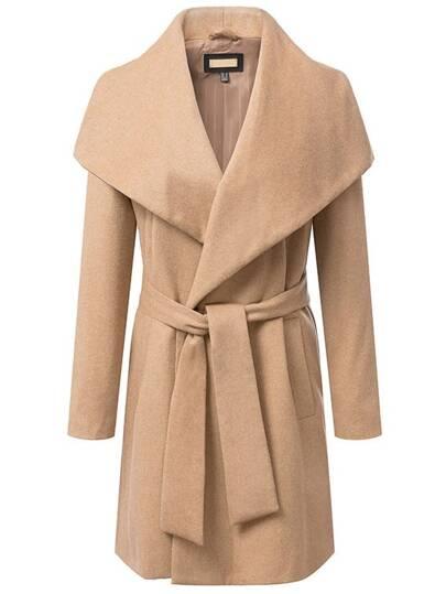 Khaki Lapel Long Sleeve Belt Woolen Coat