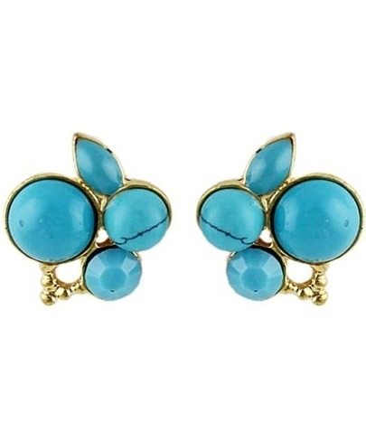 Blue Gemstone Gold Stud Earrings