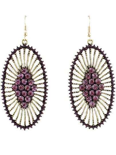 Purple Diamond Gold Hollow Dangle Earrings