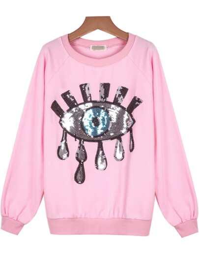 Sweatshirt mit Pailletten, rosa