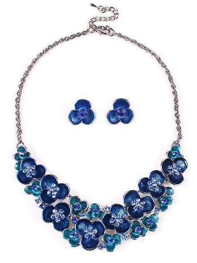 Blue Diamond Silver Flowers Necklace With Earrings