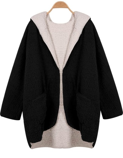 Black Hooded Long Sleeve Both Sides Coat