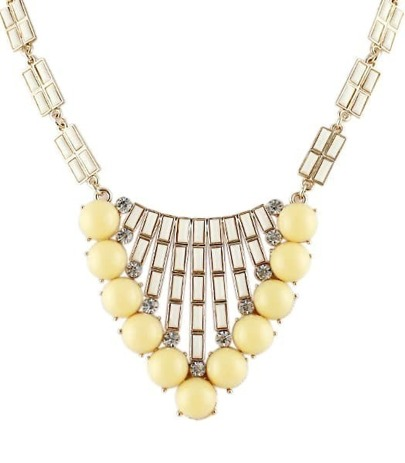 Yellw Gemstone Bead Gold Fashion Necklace
