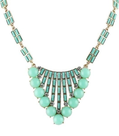 Green Gemstone Bead Gold Fashion Necklace