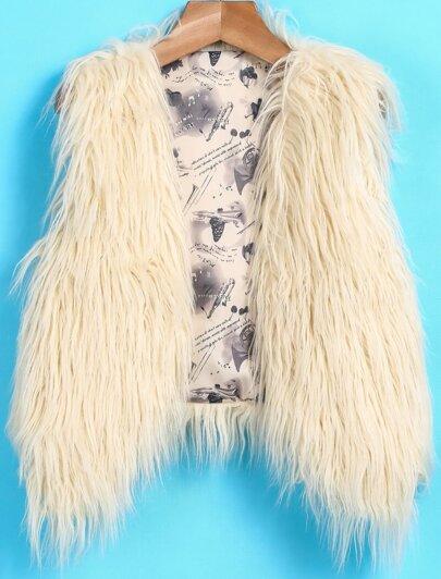 Beige Sleeveless Faux Fur Coat