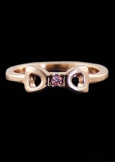 Gold Diamond Hollow Bow Ring